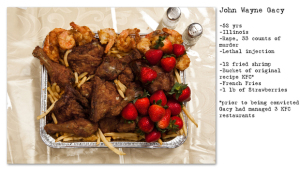 Henry Hargreaves' interpretation of John Wayne Gacy's last meal (image from )